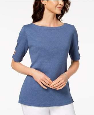 Karen Scott Cotton Cutout Top, Created for Macy's