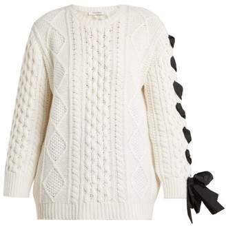 Valentino Laced Cable Knit Wool Sweater - Womens - White Black