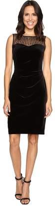 Ellen Tracy Velvet Dress w/ Neckline Embellishment Women's Dress
