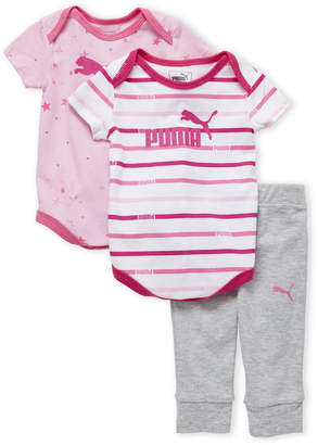 Puma Newborn Girls) 3-Piece Printed Bodysuit & Joggers Set