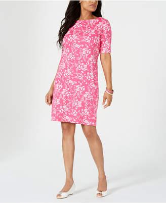 Karen Scott Petite Boat-Neck Elbow-Sleeve Dress