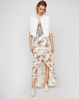Express Floral Ruffle Wrap Maxi Skirt