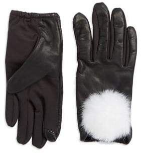 Lord & Taylor Rabbit-Fur Trimmed Touchscreen Gloves