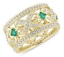 Sonatina 14k Yellow Gold, Emerald & 0.87 TCW Diamond Filigree Vintage Ring