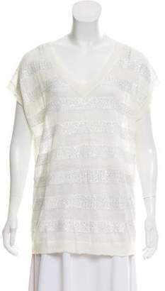 Minnie Rose Embellished Open-Knit Top