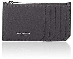 Saint Laurent Women's Leather Top-Zip Card Case - Gray