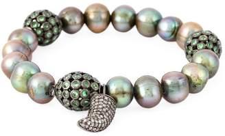 Loree Rodkin 18kt white gold diamond horn pearl bracelet
