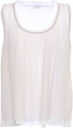 Brunello Cucinelli Bead-embellished Pleated Layered Tulle Top