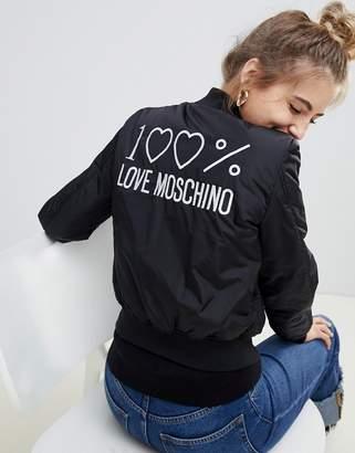 Love Moschino Shiny Padded Bomber Jacket