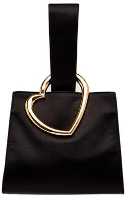 Edie Parker Heart Satin Wristlet Clutch Bag