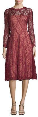 Tadashi Shoji Floral Lace Long Sleeve Fit-and-Flare Dress
