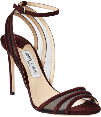 Jimmy Choo Betty 100 Suede & Mesh Sandal