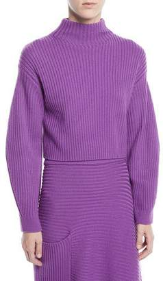 Tibi Structured Merino Wool Rib Turtleneck Sweater