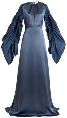 Roksanda - Zariah Draped Sleeve Open Back Gown - Womens - Navy