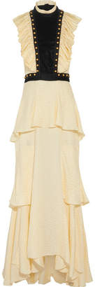 Philosophy di Lorenzo Serafini - Open-back Embellished Jacquard And Velvet Maxi Dress - Cream