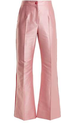 Dolce & Gabbana Contrast-trim high-rise satin trousers