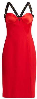 Versace Medusa Stud Satin Mini Dress - Womens - Red
