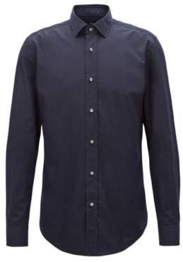 BOSS Hugo Slim-fit shirt in Italian-made cotton poplin 15 Dark Blue