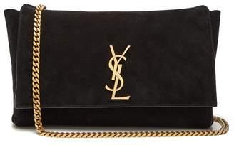 Saint Laurent Kate Reversible Leather And Suede Shoulder Bag - Womens - Black