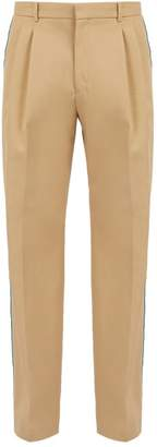 Calvin Klein Velvet Side Stripe Cotton Twill Trousers - Mens - Beige