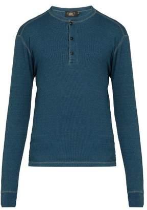 Rrl - Long Sleeved Cotton Henley T Shirt - Mens - Indigo