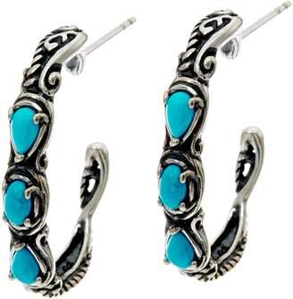Carolyn Pollack Sterling Silver Simply Fabulous Gemstone Hoop Earrings