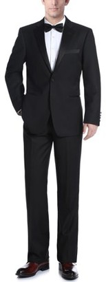 Renoir Big Men's Black Slim Fit Two Piece Notch Collar Tuxedo With Ribbon Finish