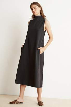 Velvet by Graham & Spencer FIONA STRUCTURED COTTON MOCK NECK MIDI DRESS