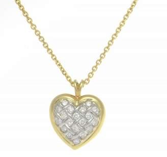 14K White/Yellow Gold Diamond Heart Pendant Necklace