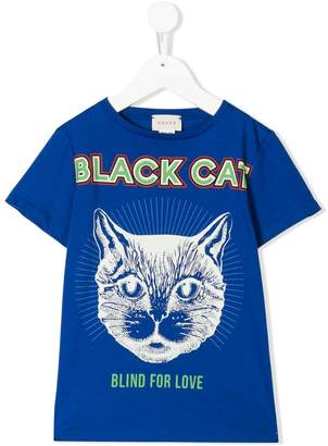 Gucci Kids black cat print T-shirt