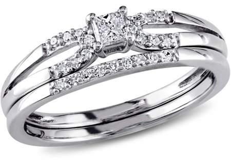 Miabella 1/5 Carat T.W. Princess and Round-Cut Diamond Sterling Silver Bridal Ring Set
