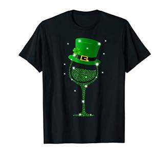 Wine Glass of shamrock with top hat St Patrick's day 2019