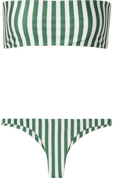 Robin And Chrissy Striped Bandeau Bikini - Green