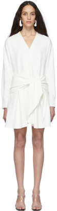 Tibi White Chalky Drape Short Wrap Dress