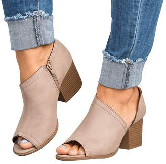 d3017fd5626 fereshte Women Slip On Side Zipper Cutout Chunky Block Stacked Mid-Heel  Peep Toe Ankle