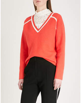 Claudie Pierlot Striped-detail V-neck knitted jumper