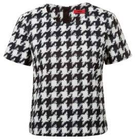 HUGO Boss Houndstooth top in a cotton 2 Patterned