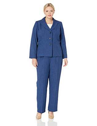 Le Suit Women's 3 Button Peak Lapel Melange Pant Suit