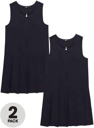 Very Schoolwear Girls Pleated Pinafore School Dresses - Navy (2 Pack)