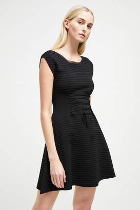 French Connenction Katie Crepe Knit Lace Up Dress