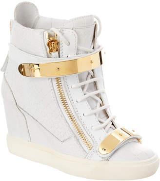 Giuseppe Zanotti Croc-Embossed Leather High-Top Wedge Sneaker