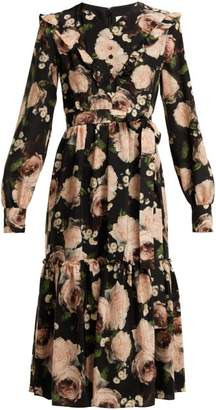 Erdem Georganna Dutch Petal Print Silk Midi Dress - Womens - Black Pink