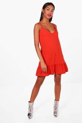 boohoo Strappy Frill Hem Shift Dress