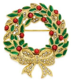 Holiday Lane Gold-Tone Crystal, Bead & Epoxy Wreath Pin, Created for Macy's