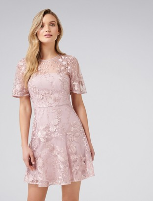 Forever New Ashton Embroidered Dress - Blush - 4