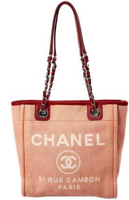 Chanel Red Canvas Mini Deauville Tote