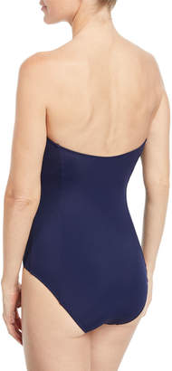 Jonathan Simkhai Lace-Up Bustier One-Piece Swimsuit