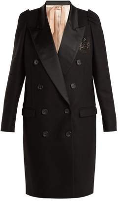 No. 21 - Contrast Lapel Double Breasted Overcoat - Womens - Black