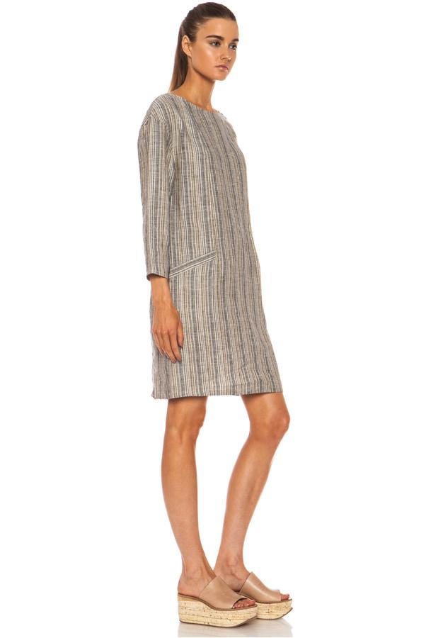 A.P.C. Pattie Linen Dress in Grey Stripe