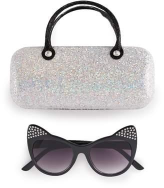 Girls 5-12 Elli By Capelli Plastic Cat Sunglasses With Glitter Case